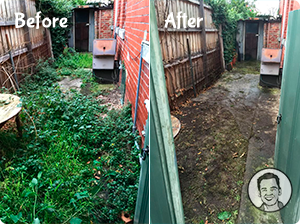Before/After photo of a yard that's been cleared of unwanted plants.