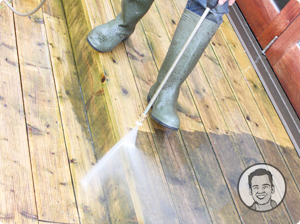 high pressure cleaning a wooden deck
